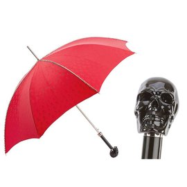 Pasotti Italian Red Umbrella with Studs and Black Skull Handle