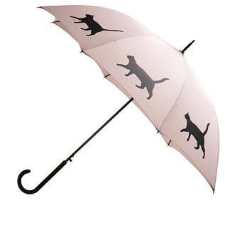 San Francisco Umbrella Cat Umbrella Black on Warm Taupe w/ sleeve