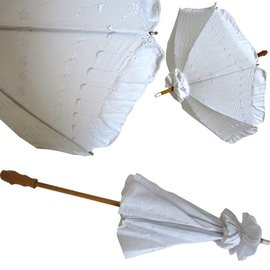 Vista Eyelet White Parasol with  Long Handle