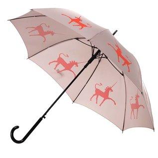 San Francisco Umbrella Unicorn - Flame Red/Orange, Taupe w/sleeve