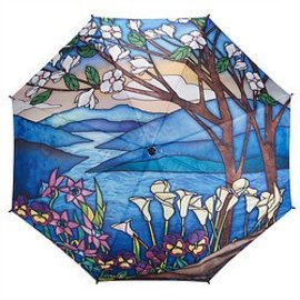 Galleria Stained Glass Landscape Travel Umbrella