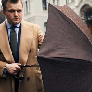 Pasotti Pasotti - Brown Plaid with Solid Stick Hickory Umbrella