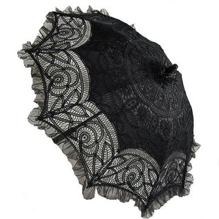 Goldenstate Lace Parasol Black Ruffle