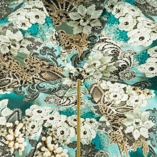 Pasotti Italian Double Layered Teal and Lace