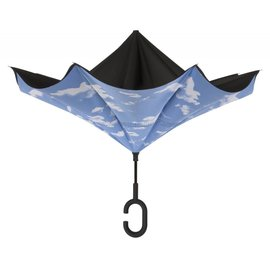 UnbelievaBrella™ Reverse Umbrella - Black/Clouds