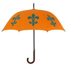 San Francisco Umbrella Fleur de Lys Umbrella- Orange/Teal