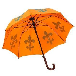 San Francisco Umbrella Animal Umbrella - Fleur de Lys - Orange/Teal