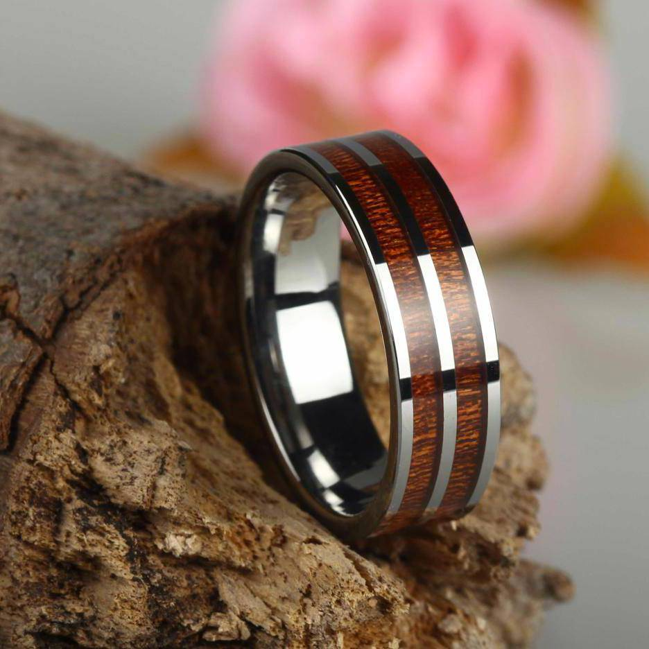 Tungsten and wood Ring #KT002