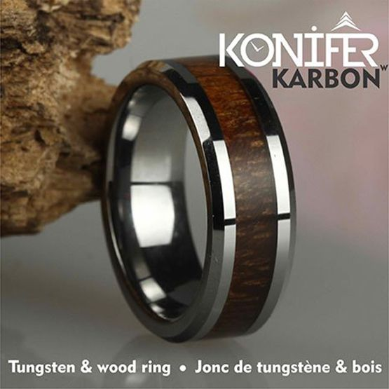 Tungsten and wood Ring #KT001