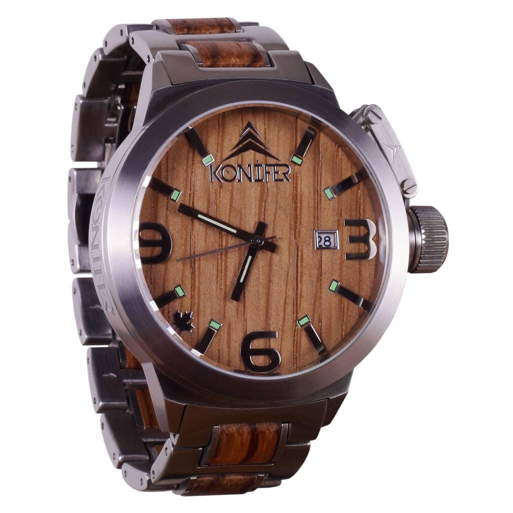 wood all steel watches products wooden redwood stainless tree black watch hut rosewood jasper