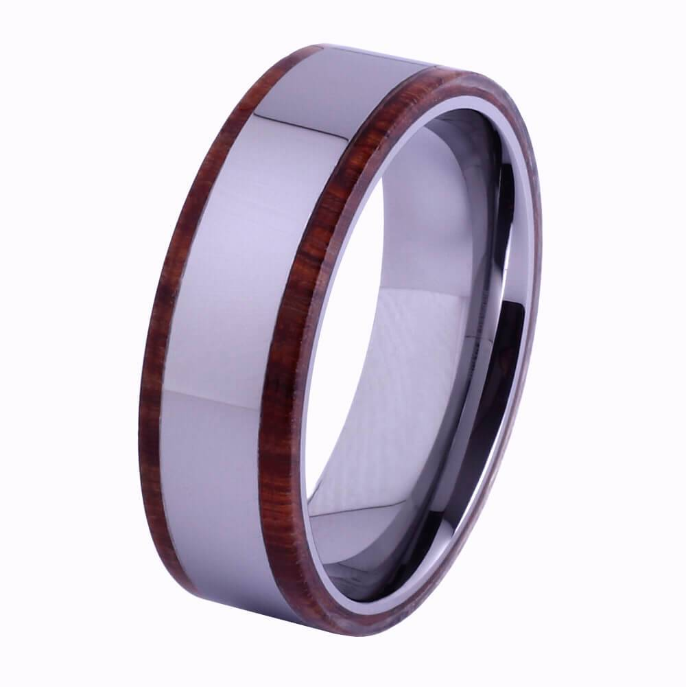 Tungsten and wood Ring #KT007