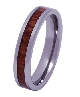 Tungsten and wood ring #KT010