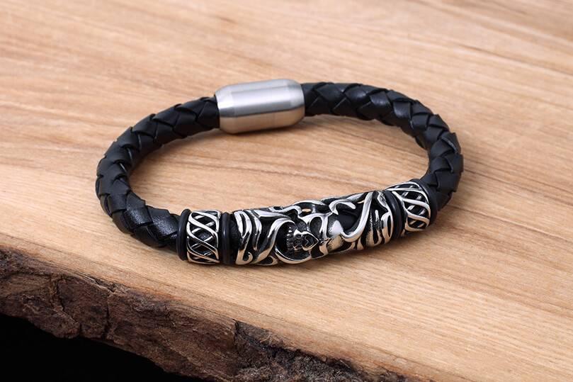 Bracelet de Cuir et Stainless #KC017BK