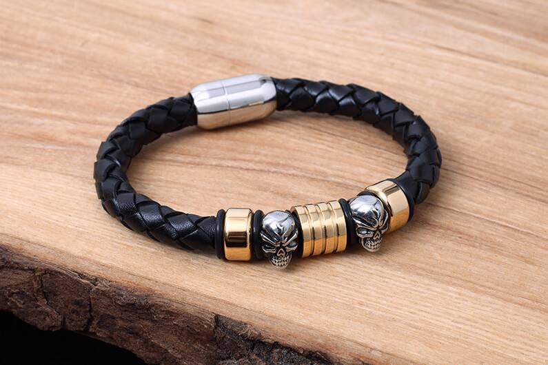 Leather and Stainless Bracelet #KC014BK
