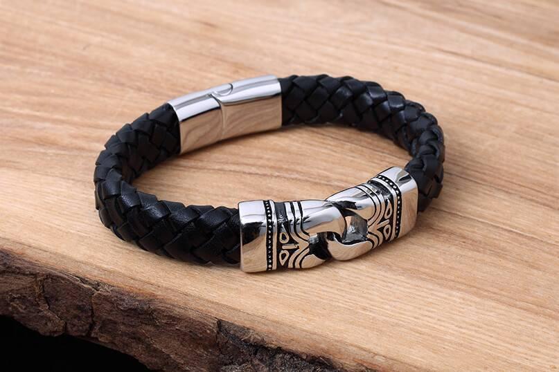 Bracelet de Cuir et Stainless #KC013BK
