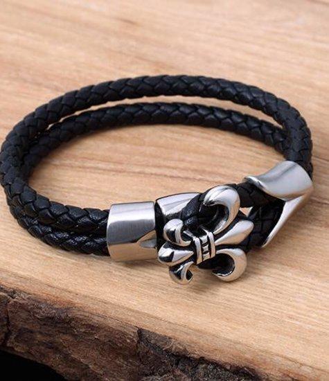 Bracelet de Cuir et Stainless #KC010BK