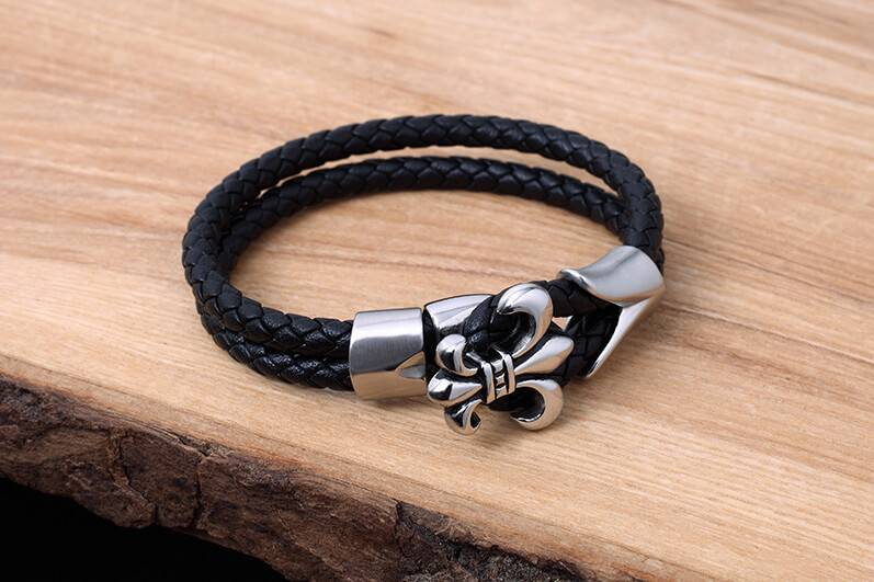 Leather and Stainless Bracelet #KC010BK