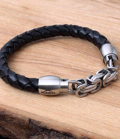 Bracelet de Cuir et Stainless #KC009BK