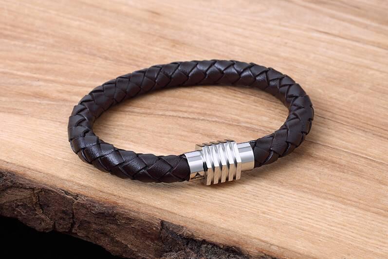 Bracelet de Cuir et Stainless #KC008BR