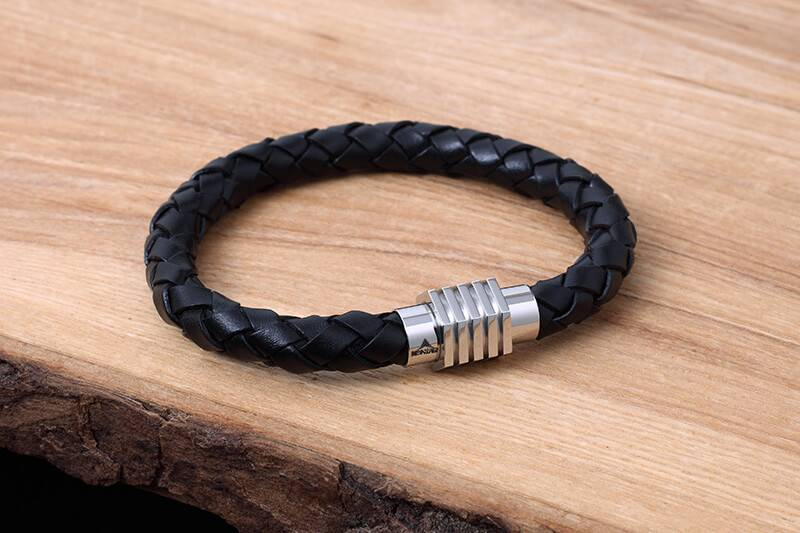Leather and Stainless Bracelet #KC008BK