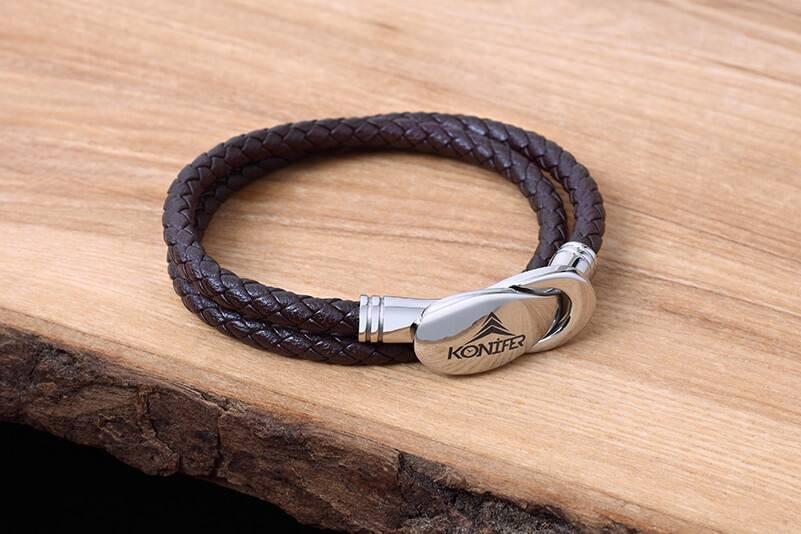 Bracelet de Cuir et Stainless #KC007BR