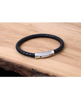 Leather and Stainless Bracelet #KC006BK