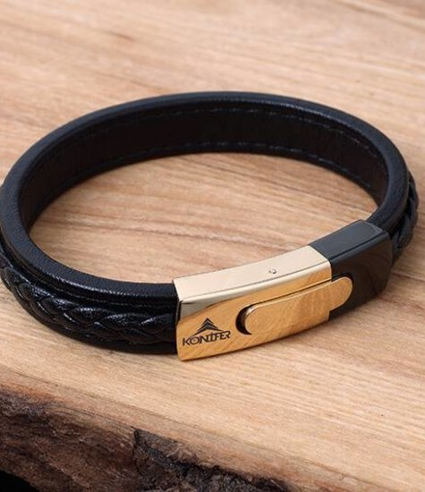 Leather and Stainless Bracelet #KC005BK