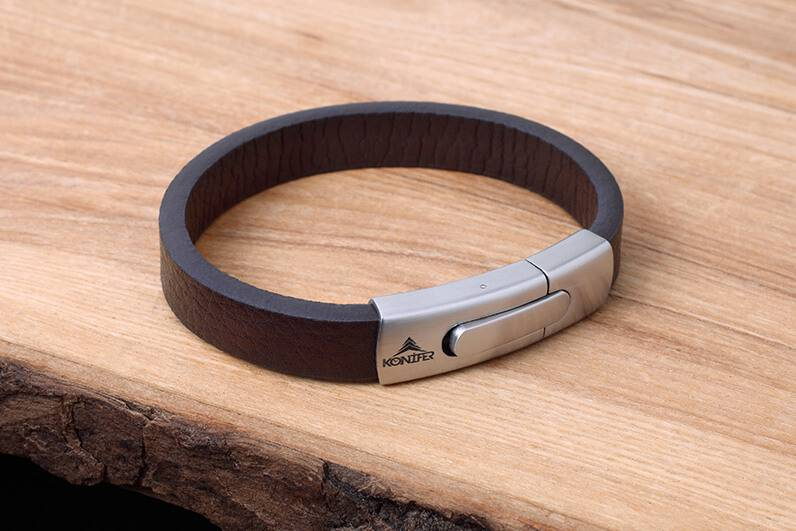 Leather and Stainless Bracelet #KC004BR