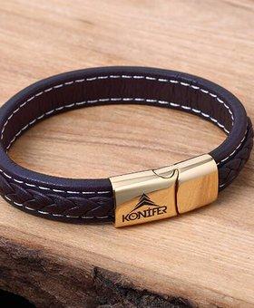 Bracelet de Cuir et Stainless #KC003BR