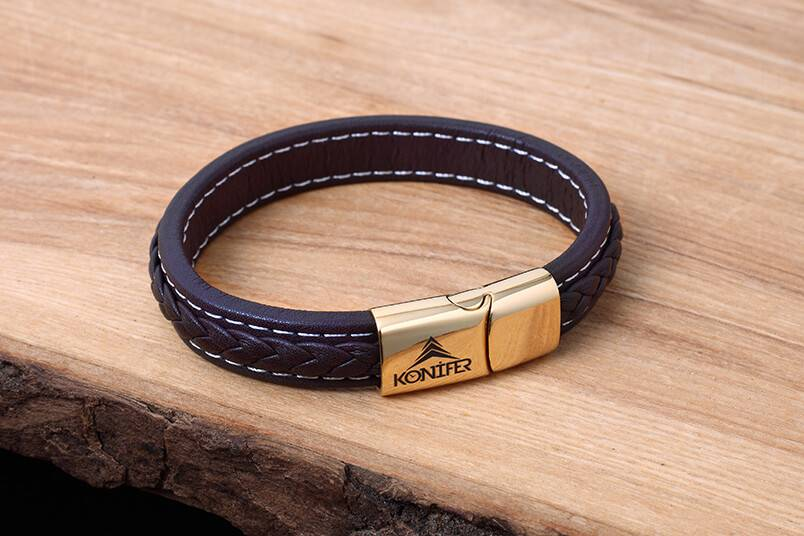 Leather and Stainless Bracelet #KC003BR