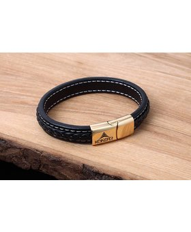 Leather and Stainless Bracelet #KC003BK