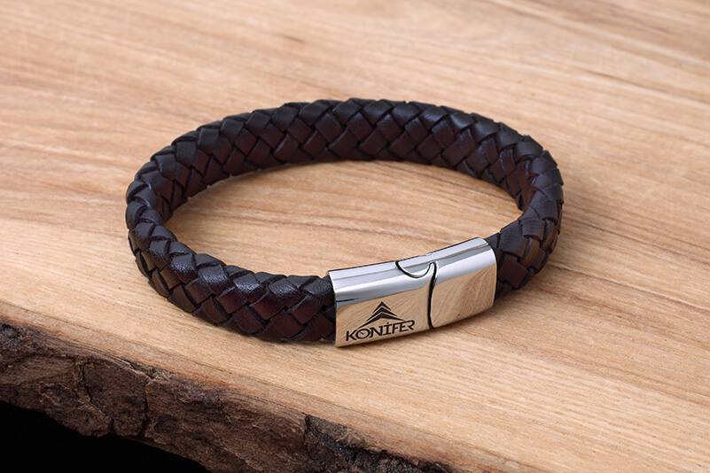 Leather and Stainless Bracelet #KC002BR