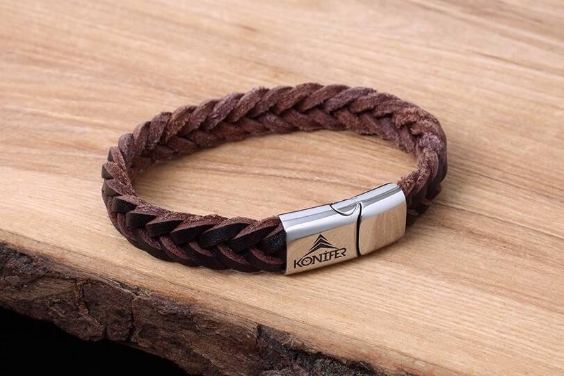 Bracelet de Cuir et Stainless #KC001BR