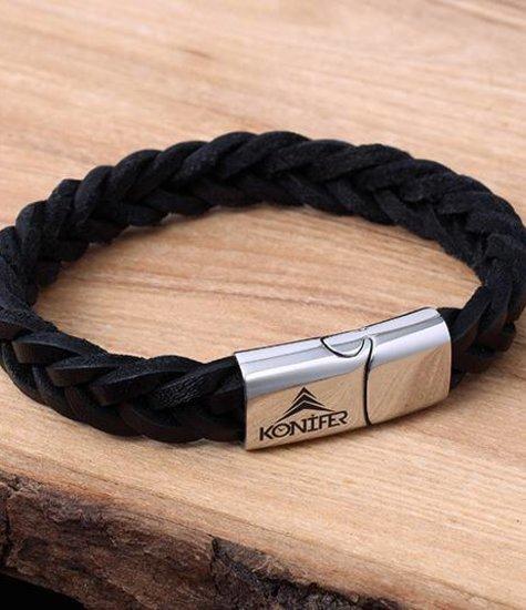 Bracelet de Cuir et Stainless #KC001BK