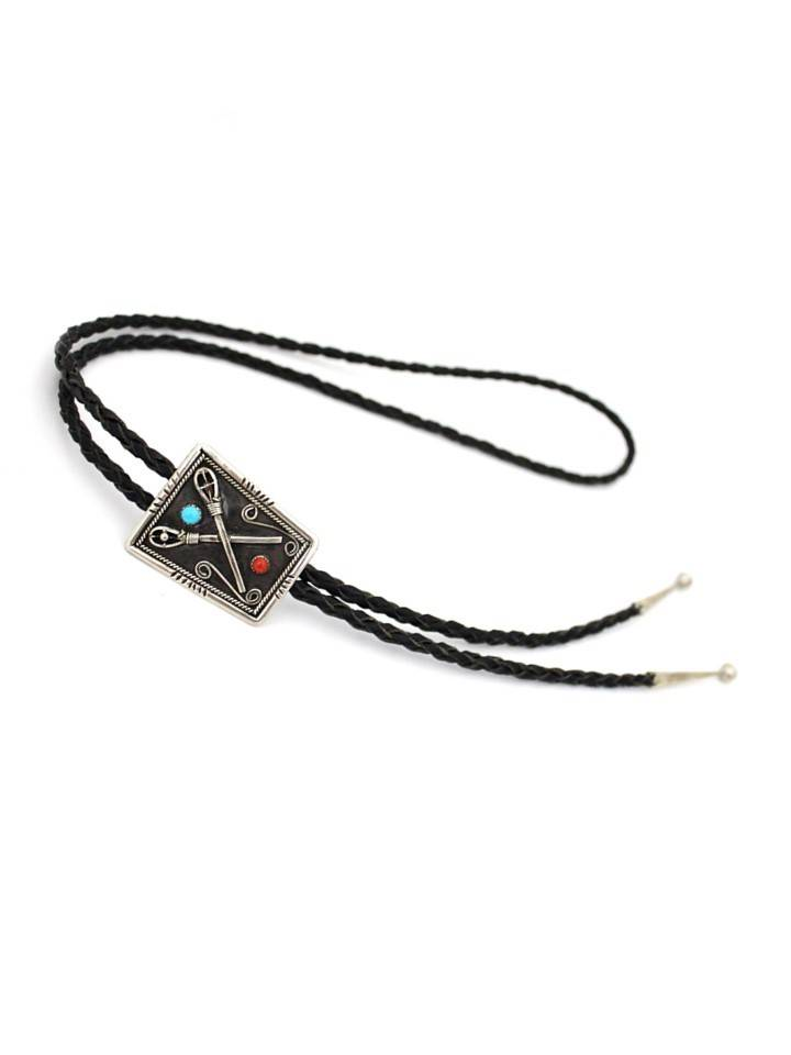 JL Silver Stickball with Red & Turquoise Stones Bolo Tie