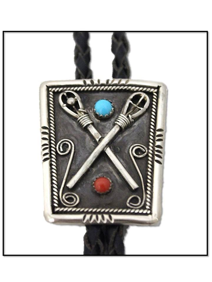 "Jerry Lowman JL Silver ""Stickball"" Design with Red & Turquoise Stones Bolo Tie"