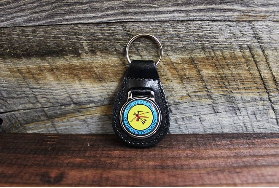 "Leather Key Ring with ""THE GREAT SEAL OF THE CHOCTAW NATION"""