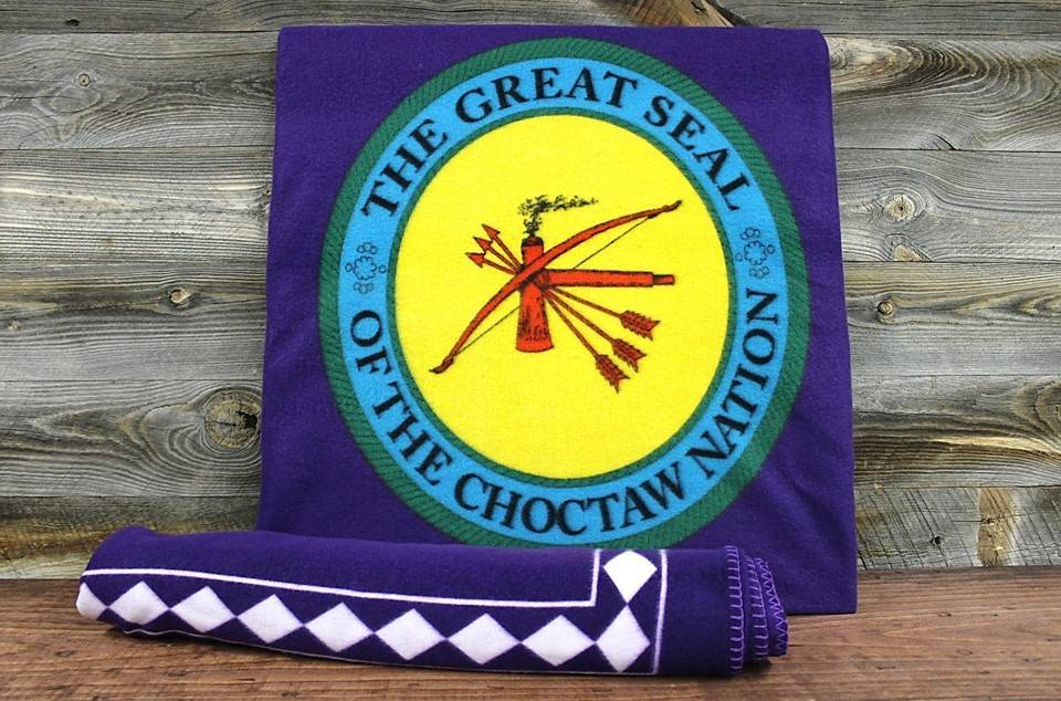 "Purple Fleece Blanket with ""THE GREAT SEAL OF THE CHOCTAW NATION"""