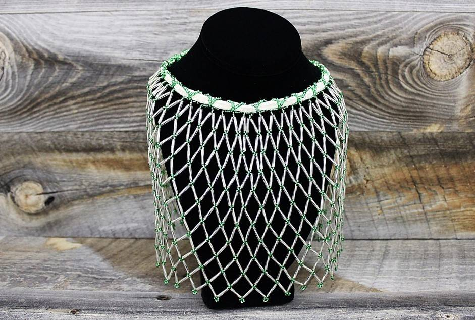 Green & Clear Beads Beaded Collar