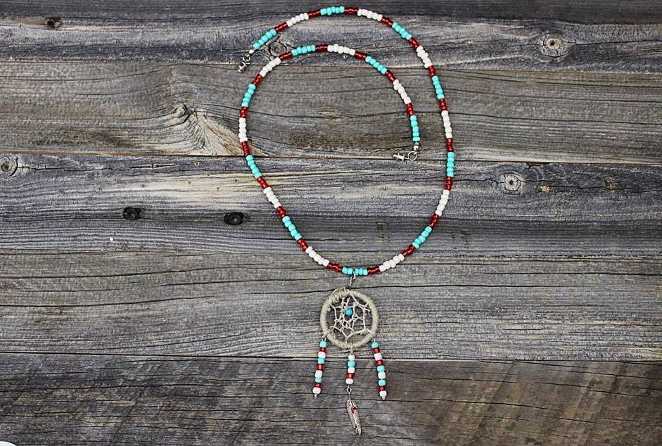 *BG Dreamcatcher Pendant with Multicolored Beaded Necklace