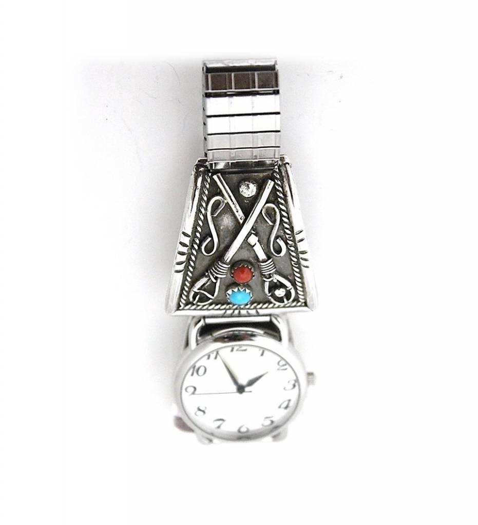 JL Silver Stickball Design Men's Watch