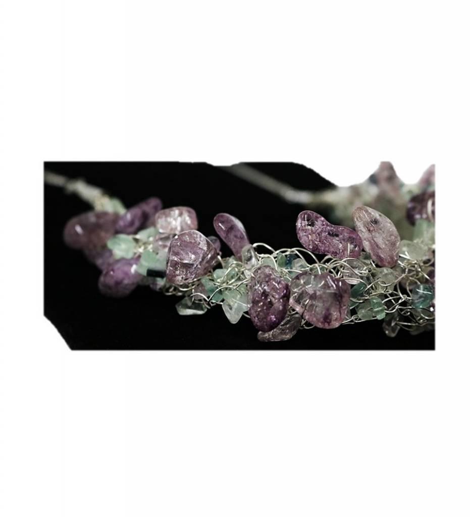 *VCB Purple & Multi Colored Beads Crochet Necklace