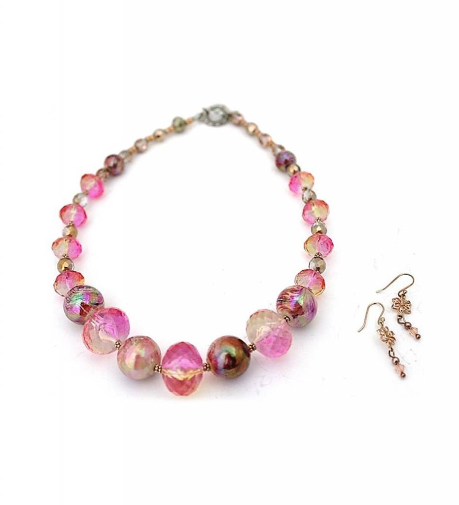 *JM Pink Glass Beads Necklace and Earrings Set