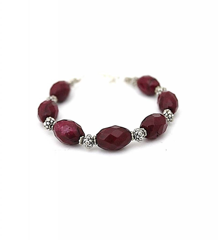 *JM Purple Gemstone and Silver Bead Bracelet