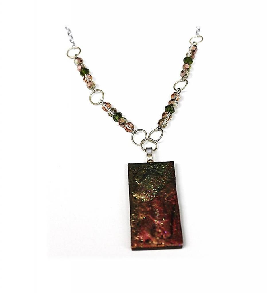 *VT Rose Mixed Media Pendant with Crystal Accent Beads Necklace