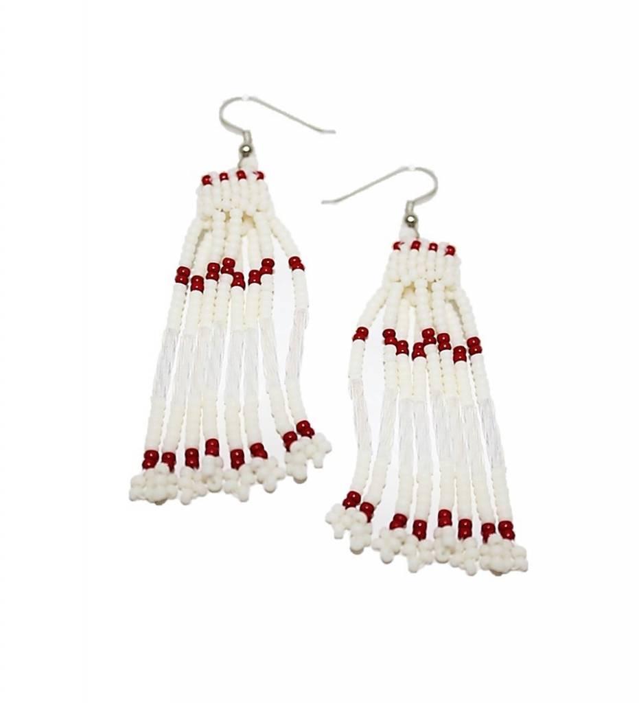 *CJ White Beads Basket Design Earrings