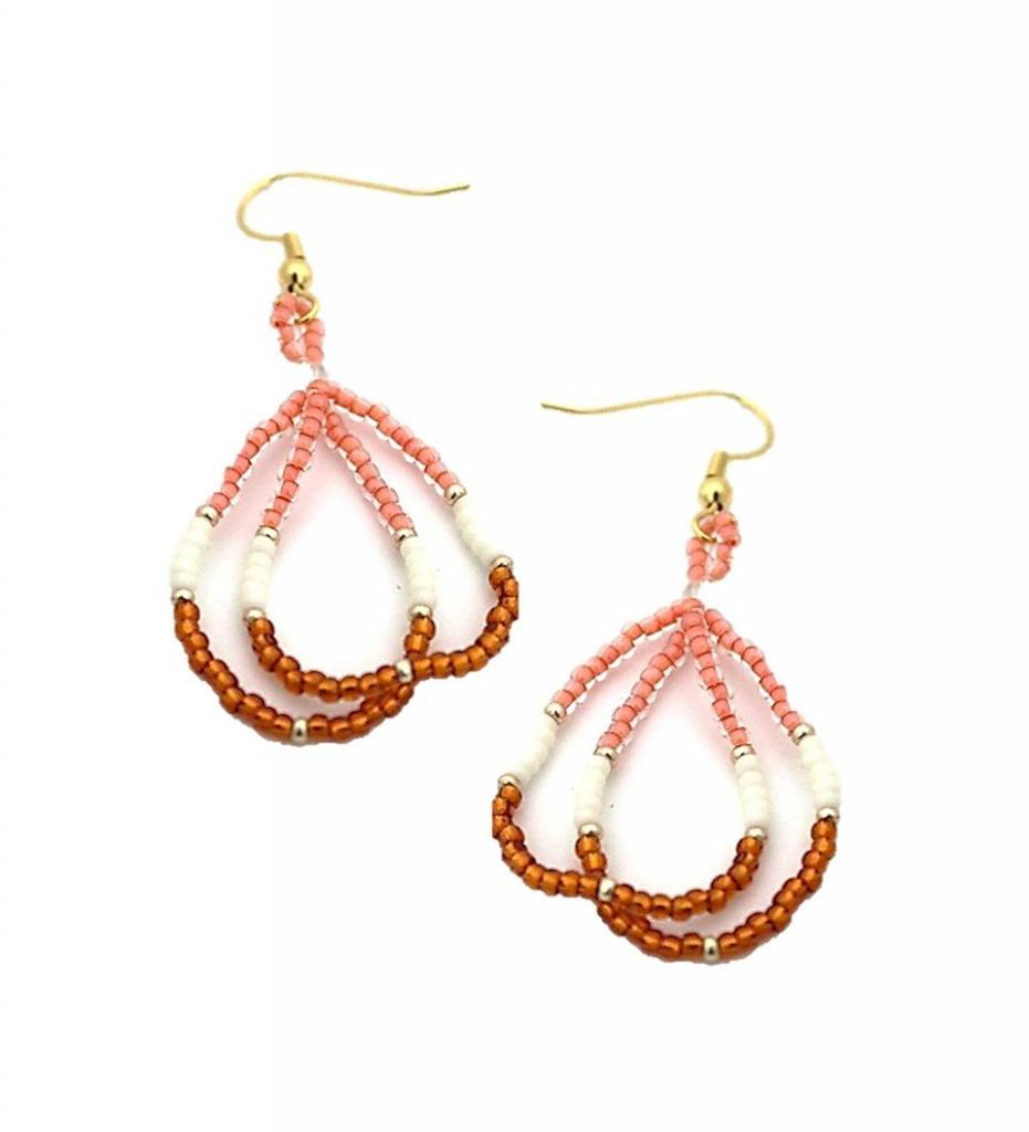 *CJ Coral Beaded Hoops Earrings