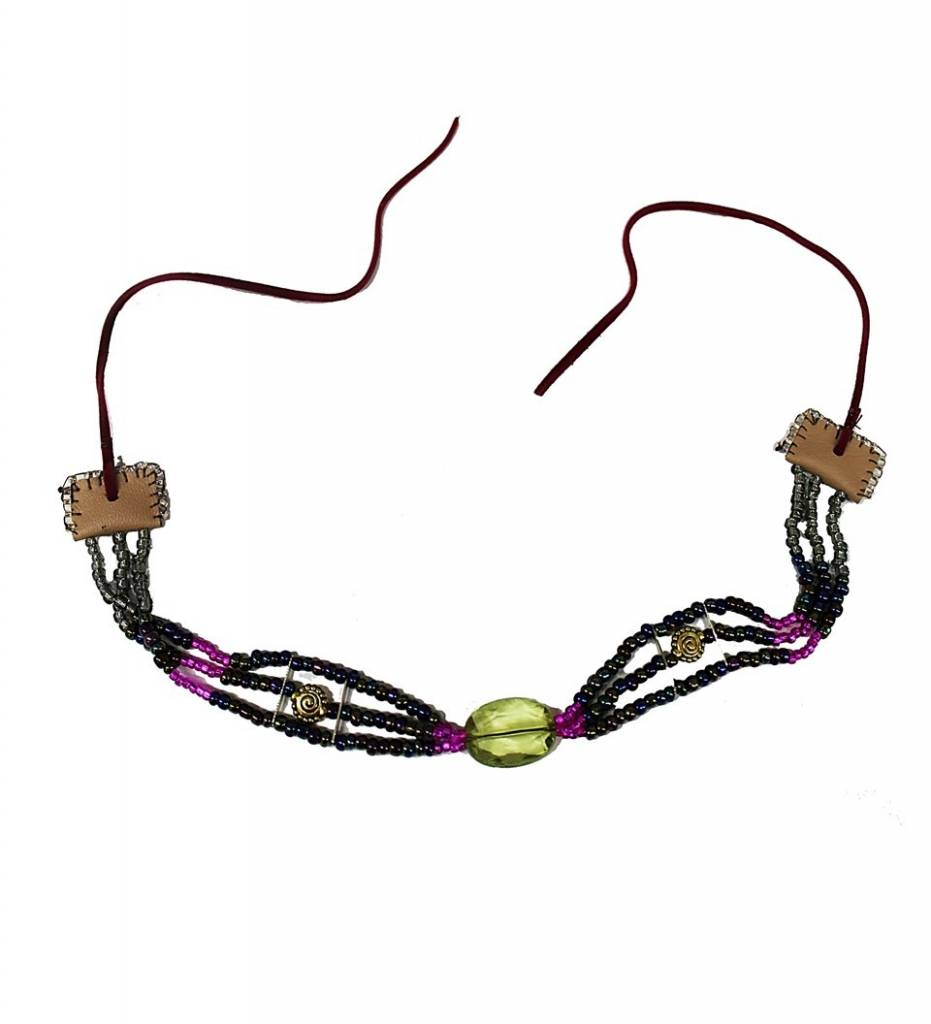 *AB Multi Colored Beads with Green Pendant Ladies Choker Necklace