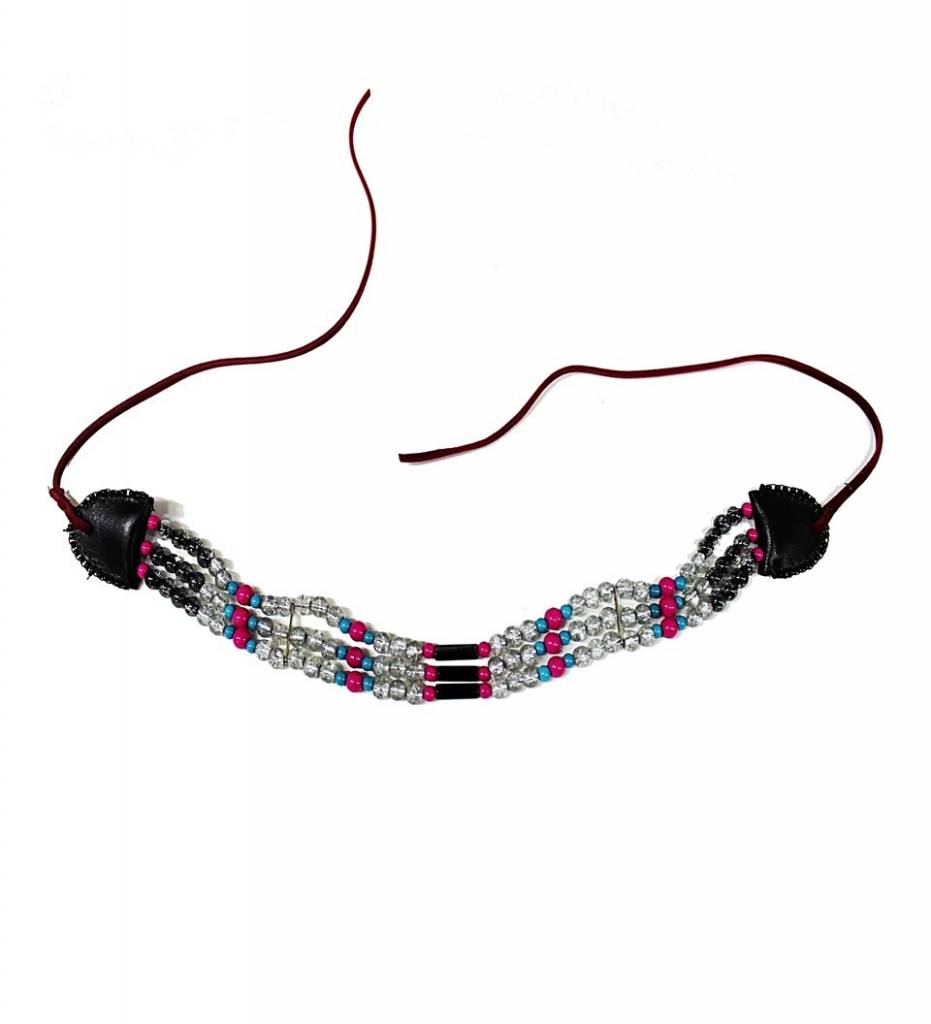 *AB Pink, Turquoise, Black & Clear Beads Ladies Choker