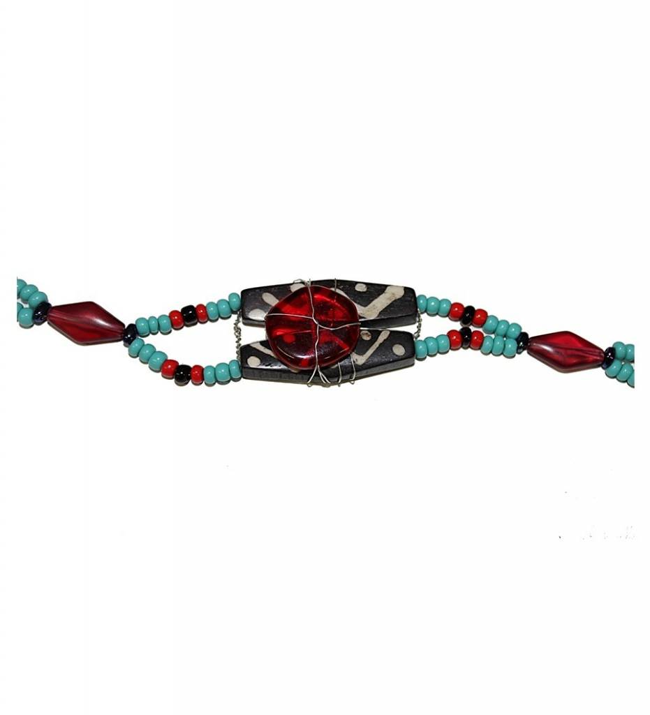 *AB Multi Colored Beads with Black and Red Pendant Ladies Choker Necklace